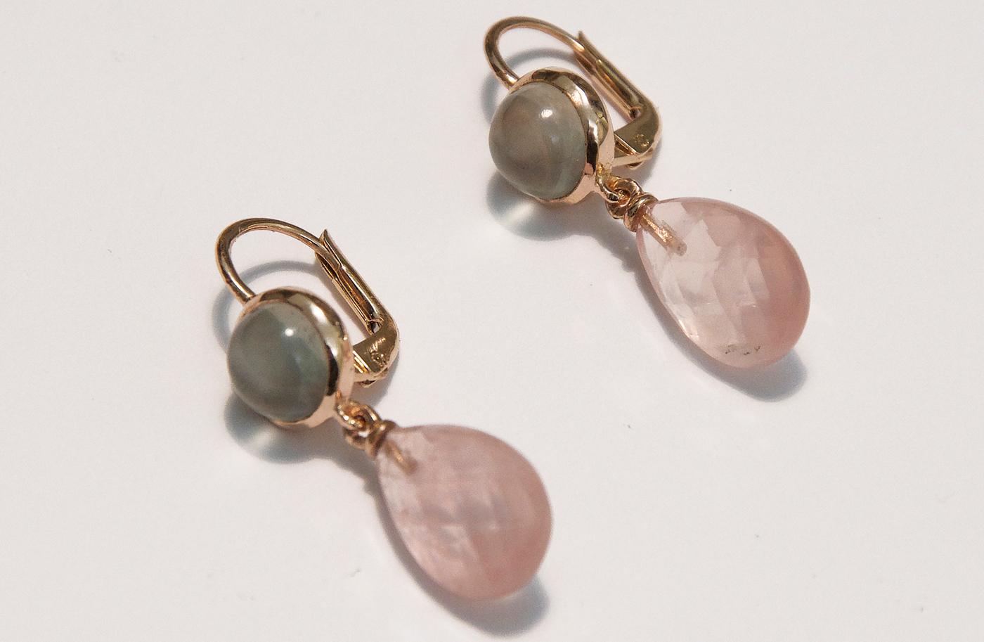 orecchini in oro rosa con pietra di luna e quarzi rosa-daniele-pifferi-gioielli-bologna