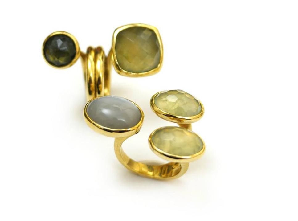 Anelli in ottone con prinite e labradorite - pietra di luna e priniti Daniele Pifferi gioielli bologna