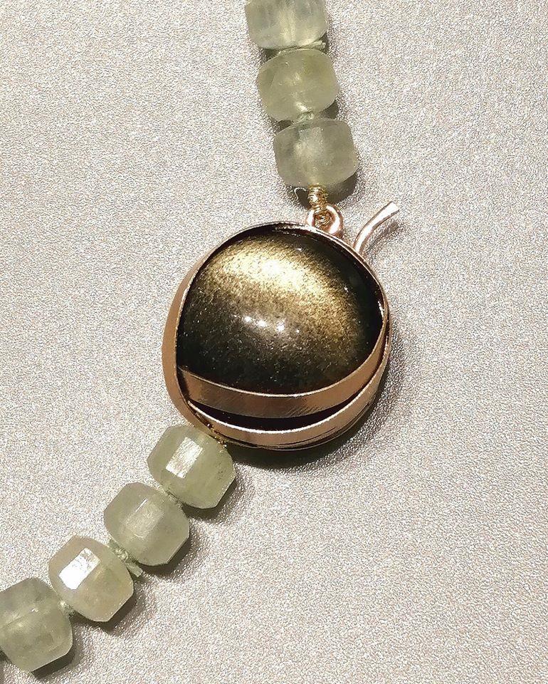 Collana in prinite con chiusura in oro rosa e ossidiana gold